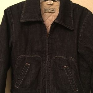 REPLAY Blue Jeans Bomber Jacket Denim size M